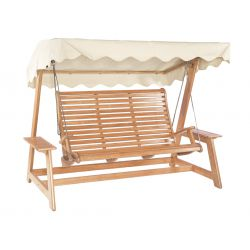 Mahogany Swing Seat (Green, Ecru)