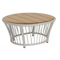 Cordial Side Table Beige w/ Roble Top 0.6m aluminium