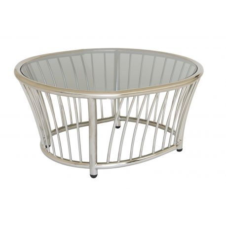 Cordial Side Table Stainless Steel w/ Glass Top 0.6m
