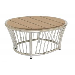 Cordial Side Table Stainless Steel w/ Roble Top 0.6m