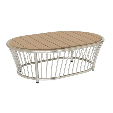 Cordial Coffee Table Stainless Steel w/ Roble Top 1.2m x 0.85m