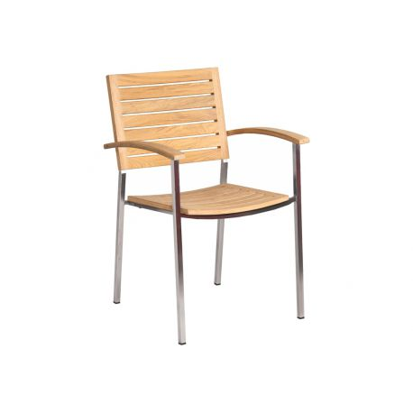 Col. Stacking Armchair Roble Square Legs