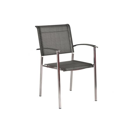 Col. Stacking Armchair Graphite Sling Square Legs