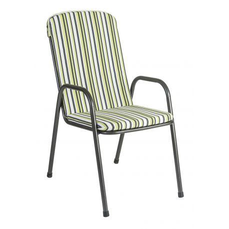 Portofino High Back Armchair Cushion Green Stripe