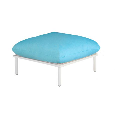 Beach Lounge Shell Footstool Turquoise Cushion