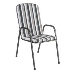 Portofino High Back Armchair Cushion Charcoal Stripe