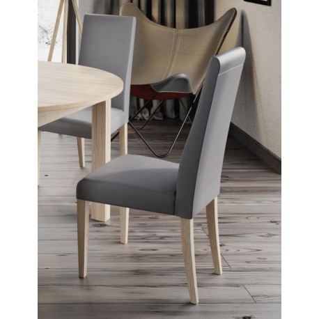 Kolekcja  Mars krzesło tapicerowane w tkaninie typu ekoskóra cayenne 1118 dk grey, kolor dąb sonoma