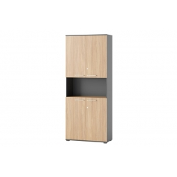Omega 05 Four-door wardrobe with bookcase