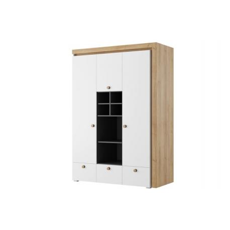 Riva 01 Three door wardrobe with 3 drawers and shelfs lighting in standa