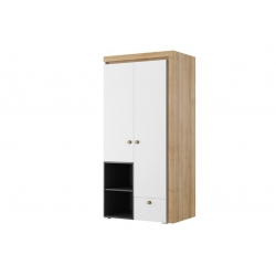Riva 02 Two door wardrobe with drawer and shelfs lighting in standard