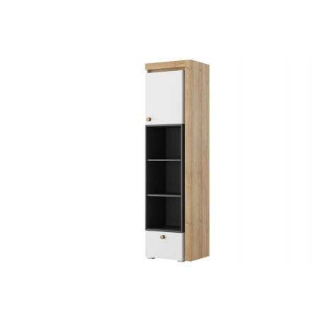Riva 03 One door bookshelf with drawer lighting in standard