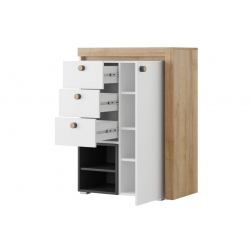 Riva 04 One door sideboard with 3 drawers and shelfs, lighting in stan