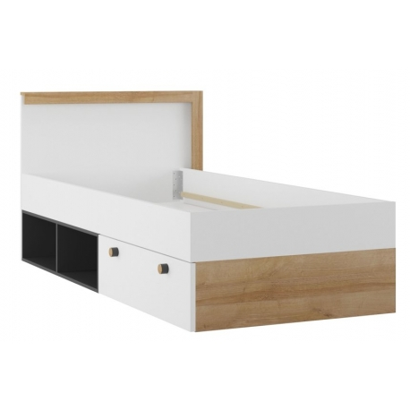 Riva 50 bed with drawer and shelfs lighting in standard without frame