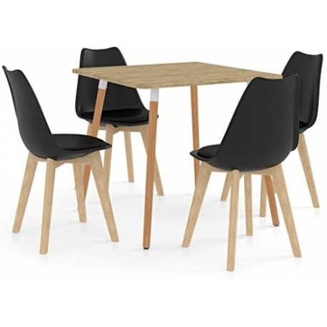 Dining Room Table Dining Table Kitchen Table with 4 Chairs Black