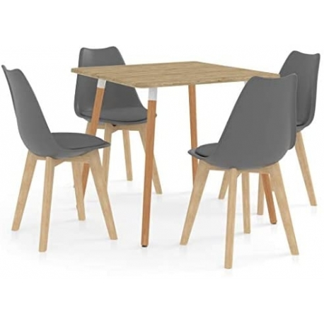 Dining Room Table Kitchen Table with 4 Chairs Grey