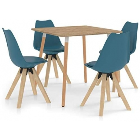 Dining Room Table with 4 Chairs Turquoise