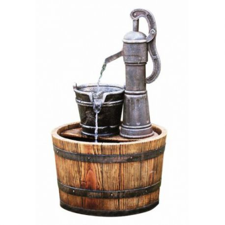 Fontanna, kaskada Pump on Wooden Barrel 66cm