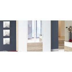 Kolekcja Milo szafa ubraniowa 4-drzwiowa z 3 szufladami (z jednej strony bieliźniarka)i