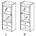 Kolekcja Dover witryna 1-drzwiowa z 2 szufladami, L/P (opcjonalne oświetlenie)