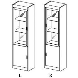 Kolekcja Dover witryna 2-drzwiowa, L/P (opcjonalne oświetlenie)